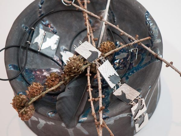 Bird Shadows as exhibited at the Vernissage showing pendant and bracelet.
